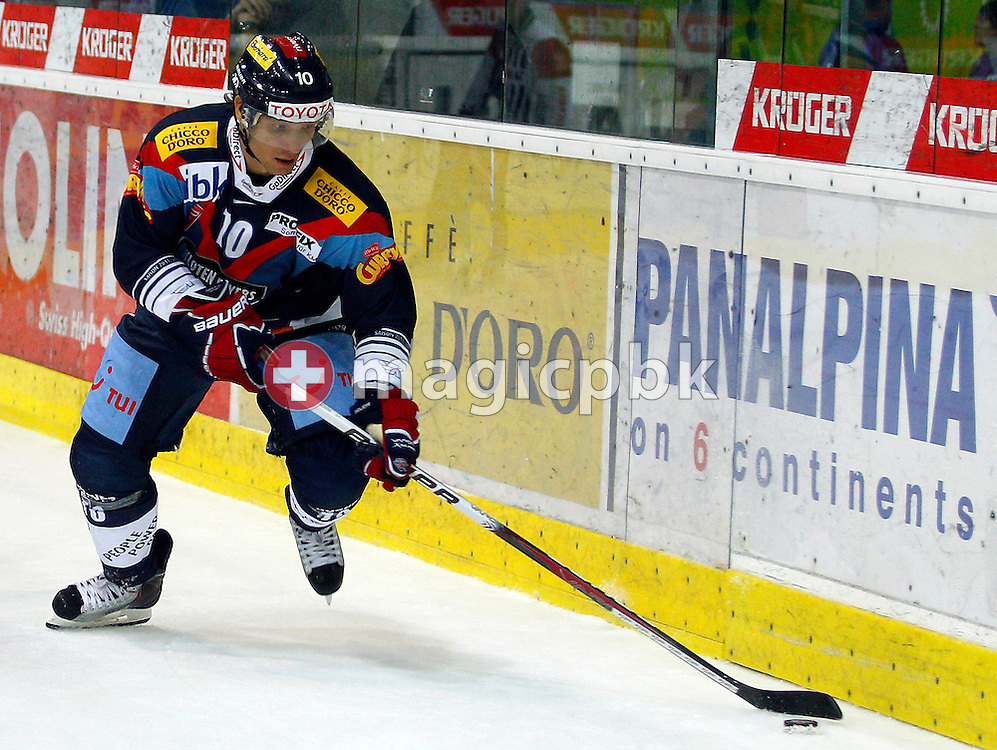 Kloten Flyers forward Marcel Jenni is pictured during ice hockey game of the Swiss National League A (Season 2011-2012) between Kloten Flyers and HC Ambri-Piotta held at the Kolping Arena in Kloten, Switzerland, Saturday, Sept. 17, 2011. (Photo by Patrick B. Kraemer / MAGICPBK)