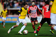 Northampton Town's Ricky Holmes during the Sky Bet League 2 match between Exeter City and Northampton Town at St James' Park, Exeter, England on 16 April 2016. Photo by Graham Hunt.