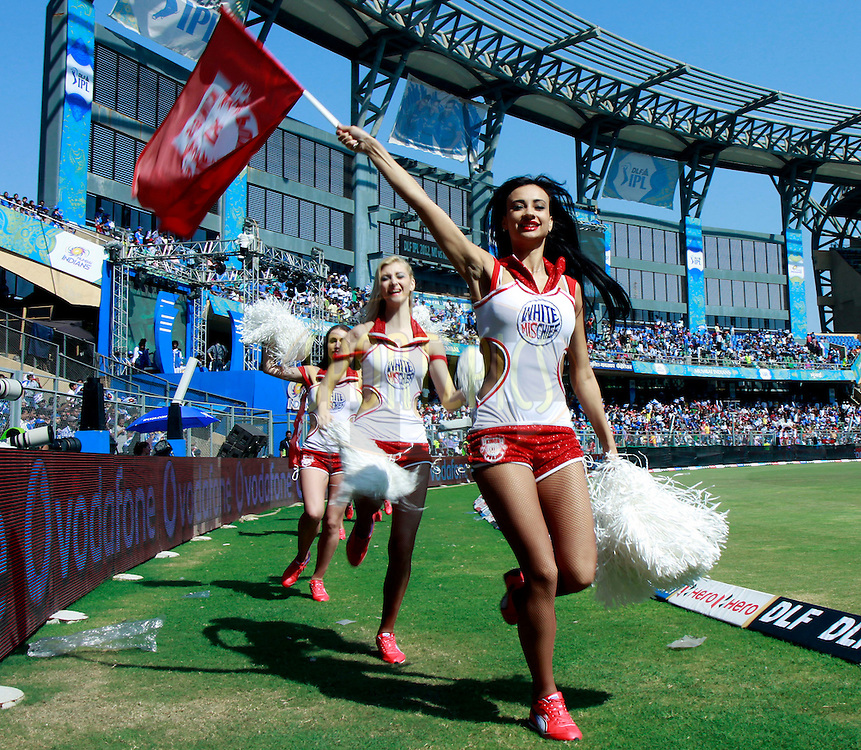Cheer Girls of Kings XI Punjab during match 28 of the the Indian Premier League ( IPL) 2012  between The Mumbai Indians and the Kings X1 Punjab held at the Wankhede Stadium in Mumbai on the 22nd April 2012..Photo by Sandeep Shetty/IPL/SPORTZPICS.