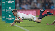 Twickenham, United Kingdom. GEORGE FORD, dives over to score a secound half try during the Old Mutual Wealth Series match: England vs South Africa RFU Stadium, Twickenham, England, Saturday, 12.11.2016<br />