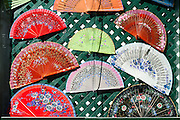 Colorful traditional Spanish fans