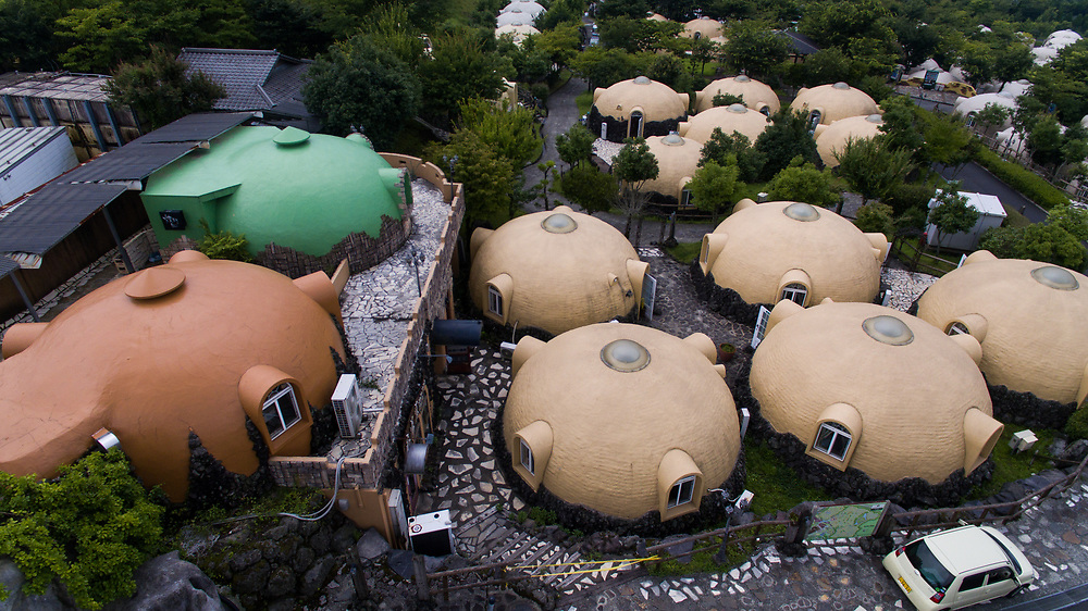 KUMAMOTO, JAPAN - JULY 31: Aerial view of Quake-proof dome houses in Aso Farm Land, Kumamoto prefecture, Japan, July 31, 2017. (Photo: Richard Atrero de Guzman/AFLO)