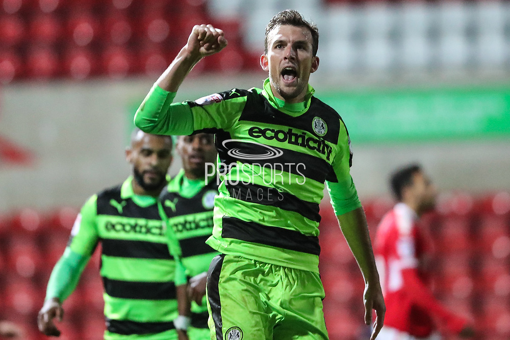 Forest Green Rovers Christian Doidge(9) scores a goal 0-1 and celebrates during the EFL Trophy match between Swindon Town and Forest Green Rovers at the County Ground, Swindon, England on 5 December 2017. Photo by Shane Healey.