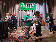 03 FEBRUARY 2020 - DES MOINES, IOWA: People wait for Sen. Amy Klobuchar's caucus night party at the downtown Marriott Hotel in Des Moines. The party was her last Iowa appearance of the primary season. Iowans made the first presidential selection picks of the 2020 election campaign with the Iowa caucuses Monday night.   PHOTO BY JACK KURTZ