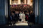 Pope Francis leaving St. Patrick's Cathedral in New York after leading an evening prayer service.
