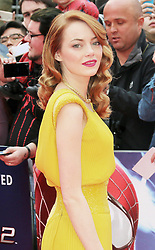 © Licensed to London News Pictures. 10/04/2014, UK. Avi Emma Stone, The Amazing Spider-Man 2 - World film premiere, Odeon Leicester Square, London UK, 10 April 2014. Photo credit : Richard Goldschmidt/Piqtured/LNP