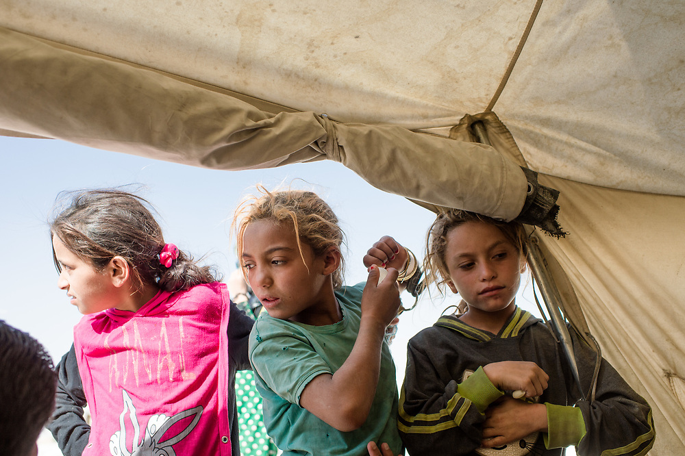 Children in a tent in Ayn Issa Refugee Camp. Ayn Issa, Syria, October 8, 2017
