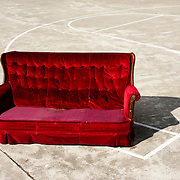 Sofa in a basketball court.