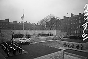 11/04/1966<br /> 04/11/1966<br /> 11 April 1966<br /> 1916 Jubilee Commemorations- Opening and Blessing Ceremony at the Garden of Remembrance, Parnell Square, Dublin. Image shows a view of the Garden and the ceremony. Note guard of honour standing on wall.