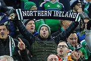 Northern Ireland fans showing their support during the UEFA European 2020 Qualifier match between Northern Ireland and Netherlands at National Football Stadium, Windsor Park, Northern Ireland on 16 November 2019.