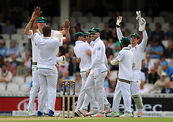 South Africa's Vernon Philander celebrates bowling England's Keaton Jennings out during day one of the 3rd Investec Test match at the Kia Oval, London.