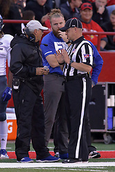 NORMAL, IL - September 08: Gary Shildmeyer and Kim Dameron chat during 107th Mid-America Classic college football game between the ISU (Illinois State University) Redbirds and the Eastern Illinois Panthers on September 08 2018 at Hancock Stadium in Normal, IL. (Photo by Alan Look)