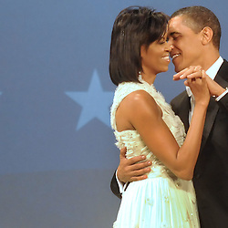 President Barack Obama and First Lady Michelle Obama dance during the Home State Ball on the night of the inauguration.