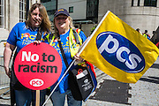 Linda Edwards (Bridgend DWP) & Carol Revell (Cardiff DWP) at the  People's Assembly & Stand up to Racism demo, Central London. Saturday the 16th of July 2016.