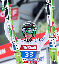 04.01.2015, Bergisel Schanze, Innsbruck, AUT, FIS Ski Sprung Weltcup, 63. Vierschanzentournee, Innsbruck, 2. Wertungsdurchgang, im Bild Peter Prevc (SLO) // Peter Prevc of Slovenia reacts after his second competition jump for the 63rd Four Hills Tournament of FIS Ski Jumping World Cup at the Bergisel Schanze in Innsbruck, Austria on 2015/01/04. EXPA Pictures © 2015, PhotoCredit: EXPA/ JFK
