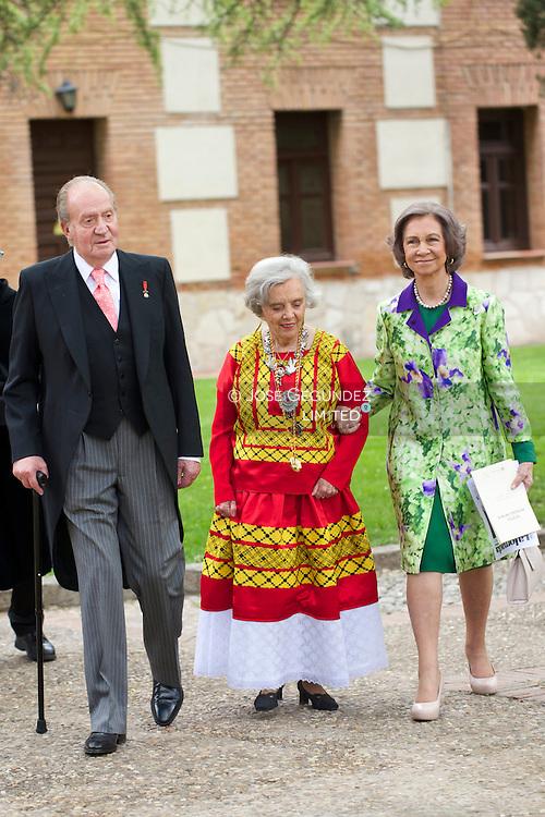 Mexican author Elena Poniatowska, King Juan Carlos of Spain, Queen Sofia of Spain attends the Cervantes award ceremony at the Alcala de Henares University on April 23, 2014 in Alcala de Henares, near of Madrid, Spain.