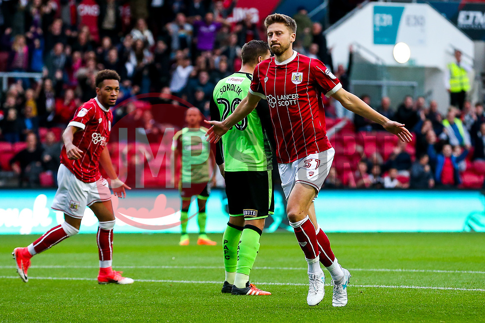 Jens Hegeler of Bristol City celebrates scoring a goal to make it 1-0 - Rogan/JMP - 08/08/2017 - Ashton Gate Stadium - Bristol, England - Bristol City v Plymouth Argyle - Carabao Cup Round One.