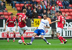 LONDON, ENGLAND - Saturday, October 8, 2011: Tranmere Rovers' Robbie Weir and Charlton Athletic's Michael Morrison in action during the Football League One match at The Valley. (Pic by Gareth Davies/Propaganda)