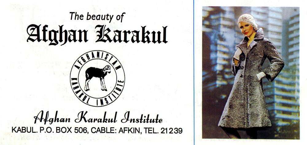 AFGHANISTAN historisch - 1977 <br />Werbeanzeige f&uuml;r Afghanische Mode:<br />&quot; The Beauty of Afghan Karakul &quot; <br />copyright : AFGHAN TOURIST ORGANIZATION