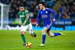 Ben Chilwell of Leicester City takes on Anthony Knockaert of Brighton and Hove Albion - Mandatory by-line: Robbie Stephenson/JMP - 26/02/2019 - FOOTBALL - King Power Stadium - Leicester, England - Leicester City v Brighton and Hove Albion - Premier League