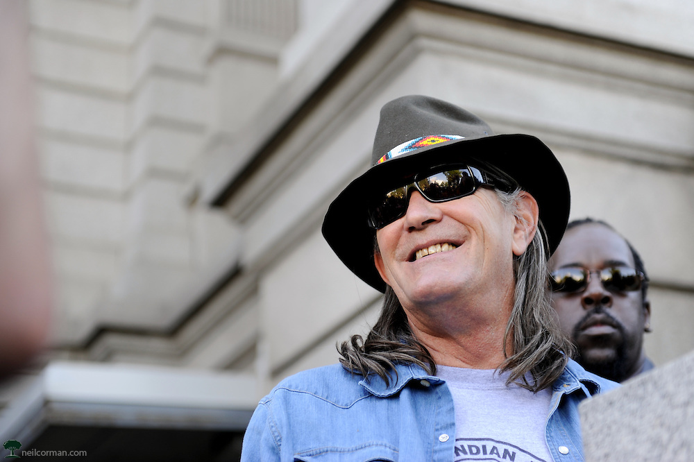 August 24, 2008 - Controversial writer and activist Ward Churchill outside the Colorado State Capitol prior to speaking at a rally prior to the Democratic National Convention.