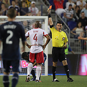 Jamison Olave, New York Red Bulls, receives the red card and is sent off by referee Jorge Gonzalez during the New York Red Bulls V Vancouver Whitecaps FC, Major League Soccer regular season match at Red Bull Arena, Harrison, New Jersey. USA. 1st June 2013. Photo Tim Clayton