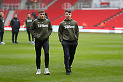 Leeds United's Robbie Gotts and Leeds United midfielder Jamie Shackleton (46) inspecting the pitch during the EFL Sky Bet Championship match between Stoke City and Leeds United at the Bet365 Stadium, Stoke-on-Trent, England on 19 January 2019.