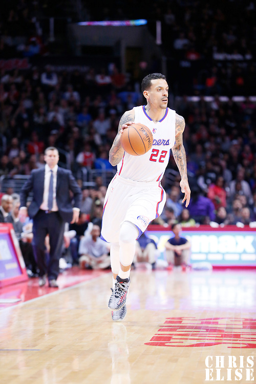 23 February 2015: Los Angeles Clippers forward Matt Barnes (22) dribbles during the Memphis Grizzlies 90-87 victory over the Los Angeles Clippers, at the Staples Center, Los Angeles, California, USA.