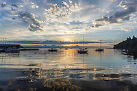 Late summer sunrise at the Langley Marina on Whidbey Island, Washington