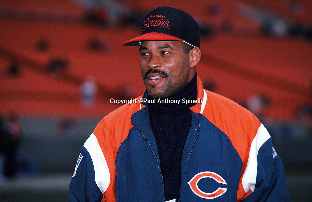 Chicago Bears defensive back Shaun Gayle looks on from the sideline after the NFL NFC Wild Card playoff football game against the Dallas Cowboys on Dec. 29, 1991 in Chicago. The Cowboys won the game 17-13. (©Paul Anthony Spinelli)