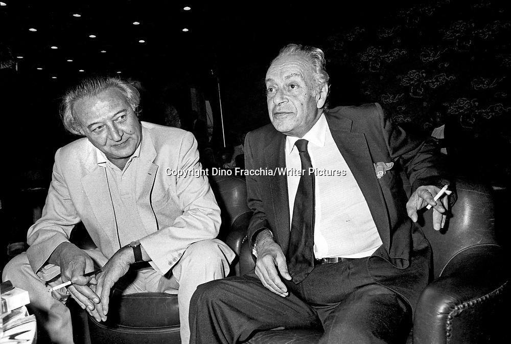 Giovanni Arpino (writer) &amp; Renato Guttuso (Painter)<br /> Venice Film Festival <br /> 1981 <br /> <br /> Photograph by Dino Fracchia/Writer Pictures<br /> <br /> <br /> NO ITALY, NO FRANCE