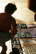 Image of a woman shopping at the Plaza in downtown Santa Fe, New Mexico, American Southwest