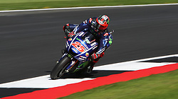 Movistar Yamaha Maverick Vinales during a practice session ahead of the British Grand Prix at Silverstone, Towcester. PRESS ASSOCIATION Photo. Picture date: Friday August 25, 2017. See PA story MOTO British. Photo credit should read: David Davies/PA Wire. RESTRICTIONS: Editorial use only. No commercial use.