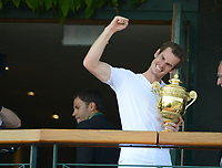 Tennis - 2013 Wimbledon Championships - Mens Final<br /> <br /> Andy Murray against Novak Djokovic<br /> Andy Murray comes out on the Balcony to the crowds outside
