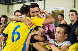 Kenan Horic of NK Domzale celebrates with fans after winning during 2nd Leg football match between NK Domzale  and FC Shakhtyor Soligorsk in 2nd Qualifying Round of UEFA Europa league 2016/17 Qualifications, on July 21, 2016 in Domzale, Slovenia. Photo by Vid Ponikvar / Sportida