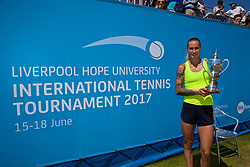 LIVERPOOL, ENGLAND - Sunday, June 18, 2017: Ladies' Champion Polona Hercog (SLO) parades the trophy after beating Corinna Dentoni (ITA) 6-2, 6-4 during Day Four of the Liverpool Hope University International Tennis Tournament 2017 at the Liverpool Cricket Club. (Pic by David Rawcliffe/Propaganda)