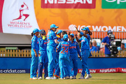India celebrate victory in the ICC Women's World Cup match between England and India at the 3aaa County Ground, Derby, United Kingdom on 24 June 2017. Photo by Simon Davies.