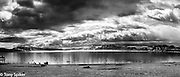 """Winter Storm at Tahoe Vista 1"" - A black and white photograph of a clearing winter storm taken from Tahoe Vista Beach in North Lake Tahoe"