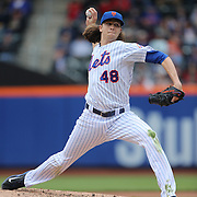 Pitcher Jacob deGrom, New York Mets, pitching during the New York Mets Vs St. Louis Cardinals MLB regular season baseball game at Citi Field, Queens, New York. USA. 21st May 2015. Photo Tim Clayton