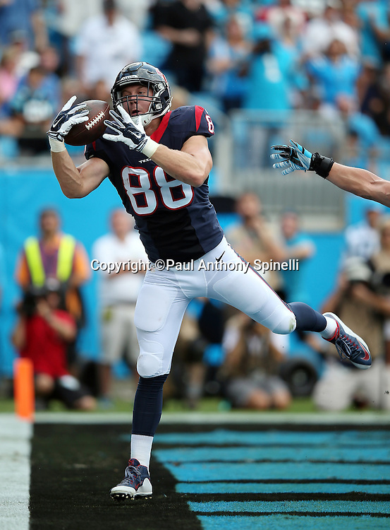 Houston Texans tight end Garrett Graham (88) makes a one handed grab in the back of the end zone on a 7 yard touchdown pass that ties the second quarter score at 10-10 during the 2015 NFL week 2 regular season football game against the Carolina Panthers on Sunday, Sept. 20, 2015 in Charlotte, N.C. The Panthers won the game 24-17. (©Paul Anthony Spinelli)