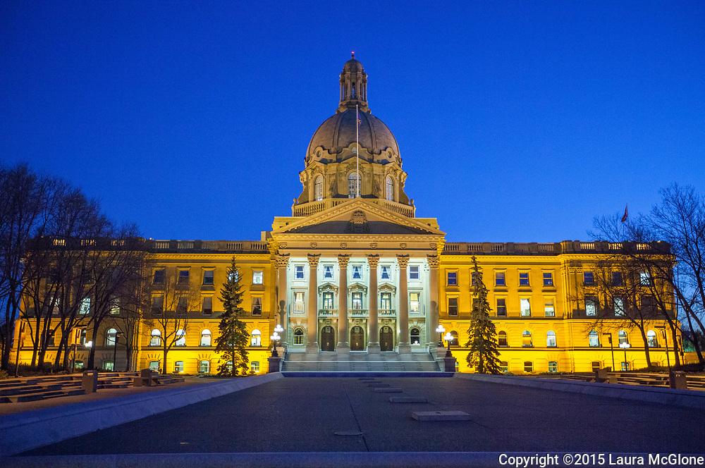 Alberta Legislature building at night, Alberta Canada
