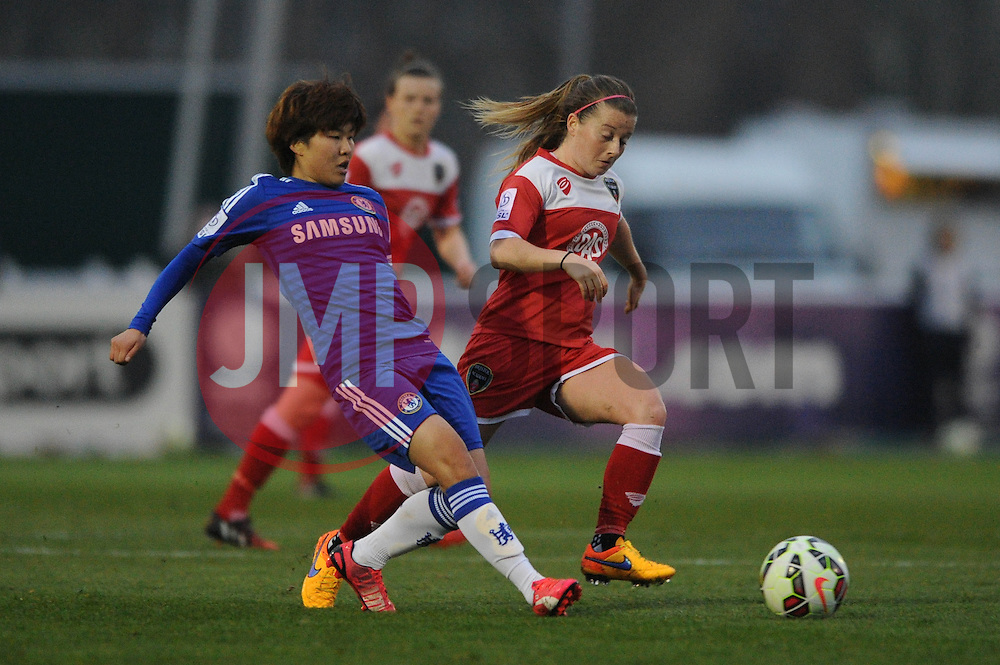 Bristol Academy Womens' Christine Murray closes down Ji So-Yun of Chelsea Ladies - Photo mandatory by-line: Dougie Allward/JMP - Mobile: 07966 386802 - 02/04/2015 - SPORT - Football - Bristol - SGS Wise Campus - BAWFC v Chelsea Ladies - Womens Super League