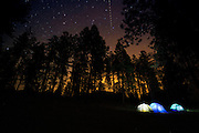 Stars over tents at the Redondo Campground in the Santa Fe National Forest, in the Jemez Mountains, New Mexico,  May 31, 2016. <br /> Photo by David Lienemann<br /> www.davidlienemann.com