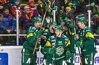 2020-01-17 | Umeå, Sweden: Björklöven (79) Emil Lundberg do the slapshot and score 1-0 to IF Björklöven in  HockeyAllsvenskan during the game  between Björklöven and Timrå at A3 Arena ( Photo by: Michael Lundström | Swe Press Photo )<br /> <br /> Keywords: Umeå, Hockey, HockeyAllsvenskan, A3 Arena, Björklöven, Timrå, mlbt200117, happy happiness celebration celebrates
