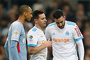 Olympique de Marseille's French defender Adil Rami talks to Olympique de Marseille's French forward Florian Thauvin during the French Championship Ligue 1 football match between Olympique de Marseille and AS Monaco on January 28, 2018 at the Orange Velodrome stadium in Marseille, France - Photo Benjamin Cremel / ProSportsImages / DPPI