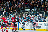 KELOWNA, CANADA - APRIL 8: Kole Lind #16 of the Kelowna Rockets fist pumps the bench after scoring a goal against the Portland Winterhawks on April 8, 2017 at Prospera Place in Kelowna, British Columbia, Canada.  (Photo by Marissa Baecker/Shoot the Breeze)  *** Local Caption ***