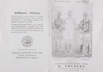 GAA Munster Senior Hurling Championship Final at Thurles,.03101926MSHCF..Tipperary V Cork  Third Game.Tipperary 02-04  Cork 03-06...Ardfinnan Suitings. Mulcahy Redmond & Co, LTD, Woollen Manufacturers, Ardfinnan, Co Tipperary,