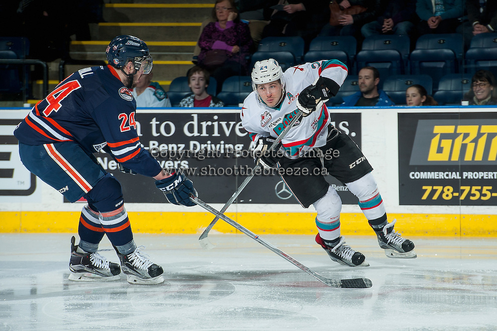 KELOWNA, CANADA - MARCH 11:  Ryan Rehill #24 of Kamloops Blazers checks Tyson Baillie #24 of Kelowna Rockets during first period on March 11, 2016 at Prospera Place in Kelowna, British Columbia, Canada.  (Photo by Marissa Baecker/Shoot the Breeze)  *** Local Caption *** Tyson Baillie; Ryan Rehill;
