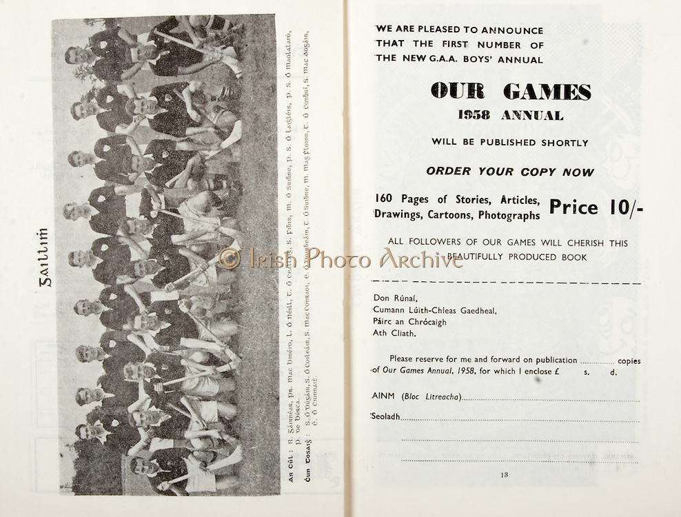 All Ireland Senior Hurling Championship Final,.07.09.1958, 09.07.1958, 7th September 1958,.Minor Galway v Limerick, .Senior Galway v Tipperary, Tipperary 4-09. Galway 2-05,..Galway,..Advertisement, GAA, Our Games 1958 Annual,