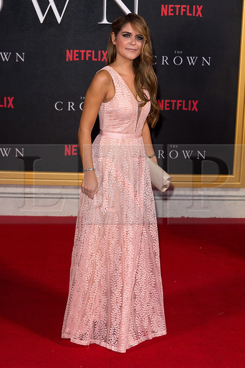 © Licensed to London News Pictures. 01/12/2016. GEMMA OATEN attends the TV premiere of the new Netflix series The Crown about the reign of Queen Elizabeth II. London, UK. Photo credit: Ray Tang/LNP